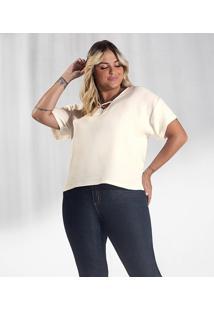 Blusa Plus Size Genebra Feminina Secret Glam Bege - Tricae