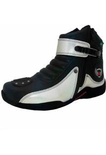 Bota Motoqueiro Cano Curto Em Couro Atron Shoes Preta/Prata