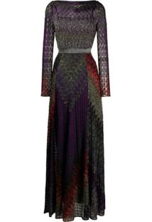 Missoni Vestido Longo Com Padronagem Geométrica - Roxo