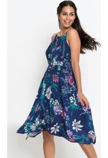 Vestido Assimétrico Com Pontas Floral Azul