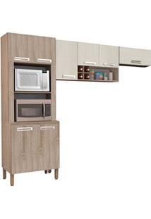Cozinha Compacta Ametista 8 Portas Composição 4 Nogal/Arena - Kit'S Pa
