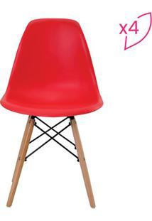 Conjunto De Cadeiras Eiffel Sem Braço- Vermelho- 4Pçrivatti