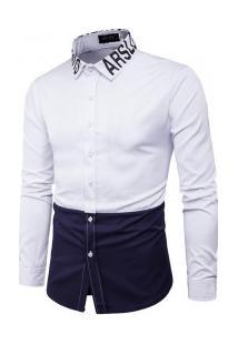 Camisa Masculina Slim Fit Duo Manga Longa - Azul Marinho E Branco