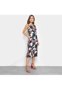 Macacão Lily Fashion Pantacourt Floral Feminino - Feminino-Marinho