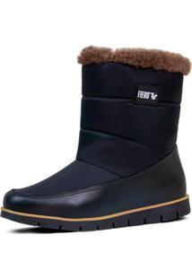 Bota Feminina Fiero Cozy Snug Boot Forrada Em Lá Natural Preta - Tricae