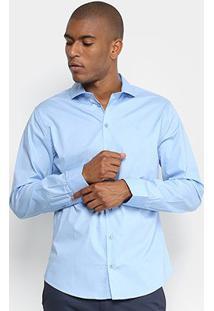 Camisa Básica Manga Longa Forum Masculina - Masculino-Azul
