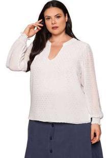 Camisa Almaria Plus Size Pianeta Crepe Off White/Prata Cinza