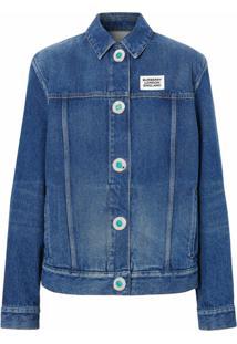 Burberry Jaqueta Jeans Com Logo - Azul