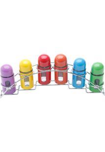 Conjunto Porta Temperos 6 Peças Inox E Vidro - Bon Gourmet - Colorido