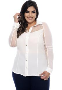 Camisa Elegance All Curves Plus Size Com Renda E Transparência Off White
