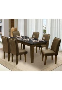 Mesa Para Sala De Jantar Saint Michel Com 6 Cadeiras – Dobuê Movelaria - Castanho / Preto / Cacau