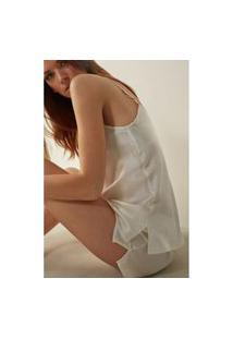 Blusa Em Cetim De Seda Com Decote Em V - Branco Gg Intimissimi