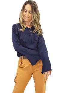 Camisa Mania De Sophia Flare Azul Marinho