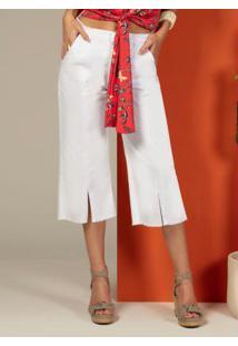 Calça Pantacourt Jeans Com Fendas Branca