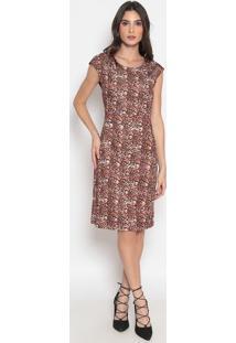 Vestido Animal- Marrom & Preto- Cotton Colors Extracotton Colors Extra