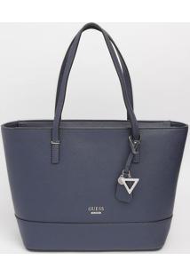 Bolsa Com Bolso & Tag - Azul Marinho & Preta - 25X29Guess