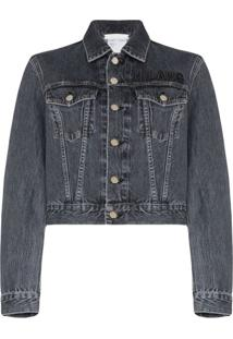 Helmut Lang Logo Embroidered Cropped Denim Jacket - Azul