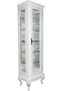 Cristaleira Com Espelho 5 Prateleiras De Vidro Branca