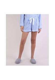 Short De Pijama Estampado De Poá Com Vivo Contrastante E Amarração Azul Claro