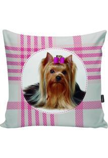 Capa Para Almofada Dog- Branca & Rosa- 45X45Cm- Stm Home