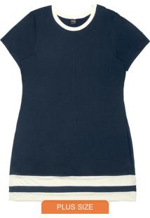 Vestido Molecotton Rovitex Plus Size Azul