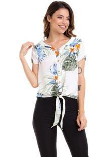 Blusa Kinara Cropped Crepe Estampada Amarração Na Cintura Feminina - Feminino-Branco