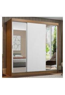 Guarda-Roupa Casal Madesa Reno 3 Portas De Correr Com Espelhos Cor:Rustic/Branco