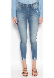Jeans Cigarrete Com Destroyed - Azuldudalina