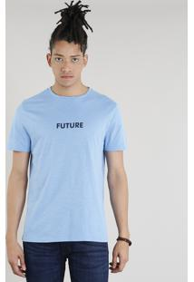 "Camiseta Masculina C2C ""Future"" Manga Curta Gola Careca Azul Claro"