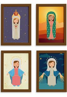 Quadros Religiosos Virgem Maria Moldura Marrom 22X32 Kit 4Un