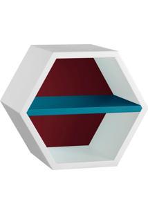 Nicho Hexagonal Favo Ii Com Prateleira Branco Com Bordo E Azul