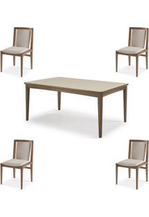 Conjunto Mesa Jantar Mule Tampo Verniz Avela 180Cm + 4 Cadeiras Brisa Encosto Estofado - 60512 - Sun House