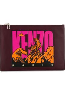 Kenzo Clutch Com Estampa Gráfica - Vermelho
