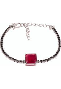 Pulseira Riviera Quadrado The Ring Boutique Pedra Cristal Vermelho Rubi Ródio Ouro Branco