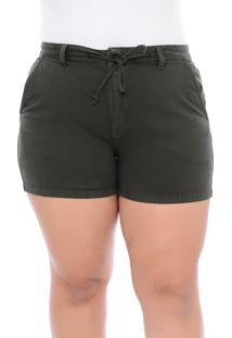 Short Plus Size Militar Sarja Amarração