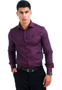 Camisa Social Horus Slim 3001 Masculina - Masculino-Vinho