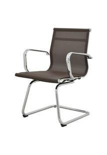 Cadeira Sevilha Eames Fixa Cromada Tela Cafe - 38071 Café