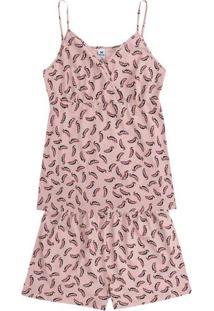 Pijama Feminino Em Malha De Algodão Com Estampa E Alças Finas