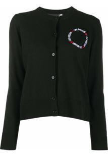 Love Moschino Cardigan Com Logo Bordado - Preto