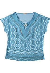 Blusa Estampada Com Aviamento Azul