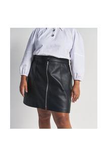 Saia Pu Com Zíper & Botão Curve & Plus Size Preto