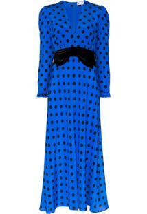 Rixo Vestido Midi X Christian Lacroix Elodie Com Póas - Azul
