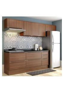 Cozinha Modulada Multimóveis 5456R Calábria 8 Peças Nogueira