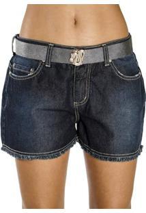 Shorts Jeans A.Cult Desfiado Barra Com Cinto - Feminino-Azul