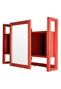 Armario Aereo C/ Espelho Troia Estrutura Vermelha 86Cm - 61428 Vermelho