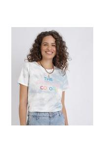 "Blusa Feminina Estampada Tie Dye The Good Vibe Colors"" Manga Curta Decote Redondo Azul Claro"""