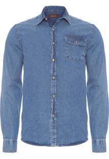 Camisa Masculina Jeans Bolso - Azul