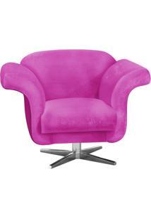 Poltrona Decorativa Troia Suede Pink Com Base Giratória Em Aço Cromado - D'Rossi