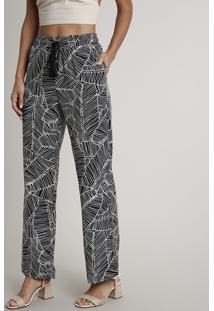 Calça Feminina Pantalona Estampada De Folhagens Com Tassel Preta