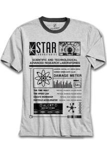 Camiseta Bandup! The Flash Serie Star Laboratories Pôster - Masculino-Mescla